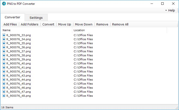 PNG to PDF Converter Files Selected
