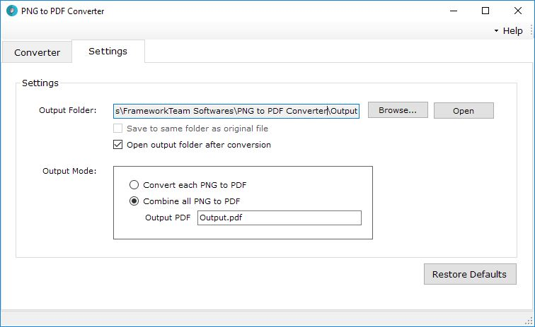 PNG to PDF Converter Settings